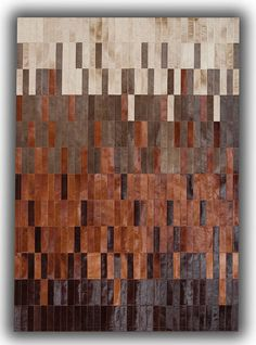Patchwork leather rugs tan & beige strips - the rug retailer. Leather Wall, Leather Pillow, Cowhide Leather, Cow Leather, Diy Carpet, Rugs On Carpet, Carpet Ideas, Carpets, Art Watercolor