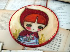 Woodland Girl In Red - Original Mixed Media Folk Art Whimsical Painting By Danita Art -