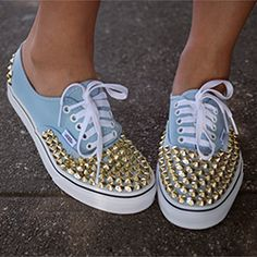 Studded Sneakers DIY! A cute, easy, and cheap way to give a fashionable makeover to your sneakers.