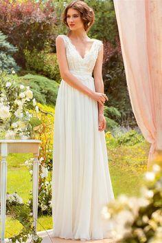 Beaded Lace Bodice and Chiffon Skirt Boho Wedding Dress 2016 Beach Bridal Gown  (W-008)