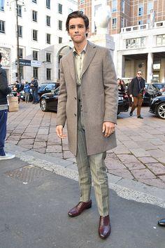 Brenton Thwaites arrives at the Salvatore Ferragamo show during Milan Men's Fashion Week Fall/Winter 2017/18 on January 15 2017 in Milan Italy
