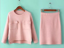 DY2788w Hot sale ladies sexy winter pink sweater+skirt outfit  Best Buy follow this link http://shopingayo.space