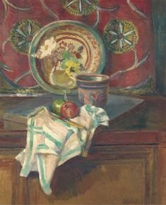 STILL LIFE WITH NAPKIN, THE STUDIO, CHARLESTON by Duncan Grant, 1950