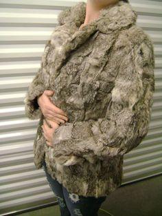 Vintage gray and white rabbit fur coat
