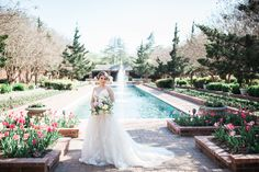 Garden styled bridal portraits at Clark Gardens in Weatherford, TX. Photo Credit: Linsey Goodson Photography / Planner: Wisteria Lane Weddings / Floral: From A to Z Design / Venue: Clark Gardens / Dress: Bow and Arrow Bridal Rock Garden Images, Garden Pictures, Clark Gardens, Image Rock, Garden Posts, Garden Dress, Bridal Portraits, Garden Styles, Botanical Gardens