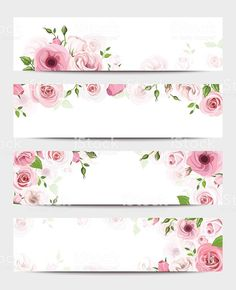 Set of four vector web banners with pink roses and lisianthus flowers. Vintage Flowers Wallpaper, Flower Background Wallpaper, Flower Backgrounds, Floral Banners, Floral Logo, Web Banners, Lisianthus Flowers, Wallpaper Shelves, School Labels