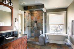 dream slate shower | ... bathroom with multi-color slate tile floor and ... | Dream Hom