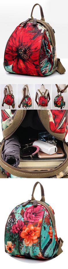 【US$28.59】Women Nylon Flower Pattern Multifunctional National Style Handbag Shoulder Bags Backpacks #flowerbags #womenbackpacks #summerstyle