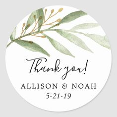 Greenery watercolors green gold leaves favor classic round sticker - tap/click to get yours right now! #classicroundsticker  #thank #you #wedding #favor #stickers Watercolor Invitations, Botanical Wedding, Wedding Stationery, Wedding Invitations, Round Stickers, Elephant Gifts, Gold Leaf, Green And Gold, Custom Stickers