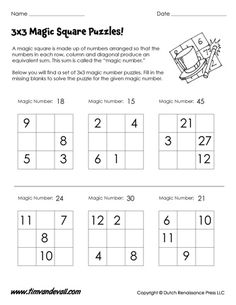 Free printable magic squares worksheets for math class, containing and magic square puzzles. Also includes Benjamin Franklin magic square for kids. Magic Squares Math, Math Magic, Math Logic Puzzles, Math Worksheets, Ks3 English Worksheets, Math Enrichment, Math Activities, Brain Teasers For Kids, Math Challenge