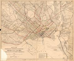 Streetcar System Map and Proposed Extensions in 1912 - Ghosts of DC Train Map, System Map, Map Of New York, Library Of Congress, Vivid Colors, Columbia, Extensions, Vintage World Maps, Fine Art