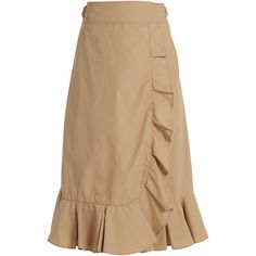 Muveil Ruffled cotton-blend poplin wrap skirt ($210) ❤ liked on Polyvore featuring skirts, beige, beige skirt, poplin skirt, wrap skirt, frilled skirt and flouncy skirt
