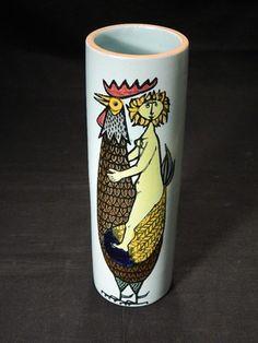 Vtg Eames Era Cylinder Vase Karneval Series 1958 by STIG Lindberg Gustavsberg | eBay