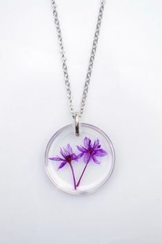 Pressed Flower Jewelry, A simple and classic jewelry, purple