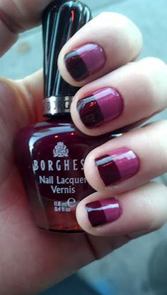 Half and half nails. Do a full coat of the first color (in this case, Borghese B295 Poema Orchid) and wait until FULLY dry. Take Frog Tape (lower tac version of painters tape) and tape over the lower half of your nail. Paint the second color (Borghese B255 Sonata Berry [pictured]) and remove the tape immediately. Allow to dry and apply top coat to smooth any edge between the colors.