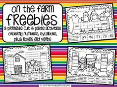 This FREEBIE includes 3 printables with a farm theme. Students will cut, paste, and color while reviewing number order from least to greatest, nouns & verbs, plus syllables. I hope your students enjoy these activities! Thanks for stopping by my store.