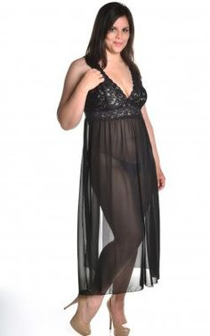 5a84d76eb8 Long Chiffon Gown – Lace Your Curves  45.00 Plus Size Lingerie