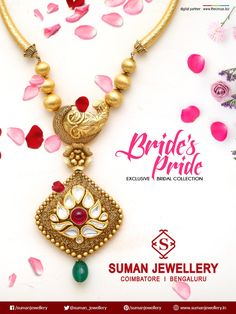 Adorable Beauty of this elegant #necklace enriches your glamour and make you smile lovingly in celebrations. #bridalcollections #suman_jewellery #design