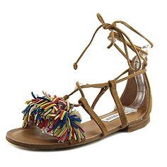 e88686055e98c5 Steve Madden Womens Swizzle Flat Sandal Natural Multi 7 M US     Click image