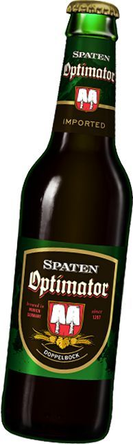 "Spaten Optimator Classic German Double Bock Beer:  Bottom-fermented Dark Beer ""Doppel Bock"" with a deep dark color and a rich roasted malt flavor."