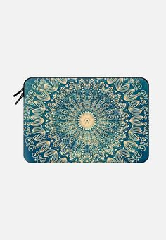 Blue organic boho mandala - macbook sleeve