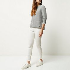 Grey ribbed boxy jumper - jumpers - knitwear - women