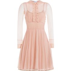 R.E.D. Valentino Tulle Dress ($468) ❤ liked on Polyvore featuring dresses, none, tulle cocktail dress, button front dress, transparent dress, ruffle collar dress and pink tulle dresses