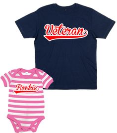 32e61966d44 MATCHING VETERAN   ROOKIE T-SHIRT   STRIPED BODYSUIT SET  For Daddy   Baby  Girl  Amazon.co.uk  Clothing