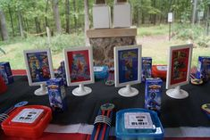 Name Table Décor and more candy sushi with chop sticks - Power Rangers Birthday Party Ideas   Photo 7 of 31   Catch My Party