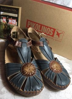 9a11558919 Pikolinos Vallarta Blue Sandal Shoes Woman's Size 39 US 8 Spain Boho for  sale online | eBay
