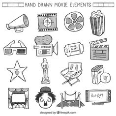 Sketches movie element collection Free Vector