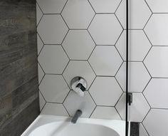 Hexagaonal white wall tiles