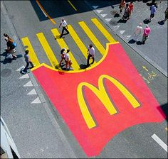 Piccsy __ McFries Pedestrian Crossing. McDonald's brands entire street.