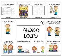 Daily 5 Choice Boards product from KookyKindergarten on TeachersNotebook.com