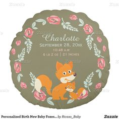 Personalized Birth New Baby Foxes And Roses Round Pillow from Ricaso