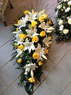 White lily and yellow rose funeral spray, casket spray. Casket Flowers, Grave Flowers, Cemetery Flowers, Church Flowers, Funeral Flowers, Flowers Garden, White Lilies, Yellow Roses, White Roses