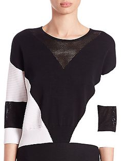 Ohne Titel Geometric Intarsia Cropped Sweater