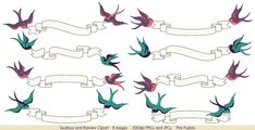 Swallows and Banners Clipart Clip Art, Vintage Bird Banner Clip Art Clipart- Commercial and Personal Vector Clipart, Banner Vector, Art Clipart, Vectors, Vector File, Swallow Bird Tattoos, Banner Clip Art, Tattoo Banner, Font Art