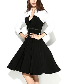 Loving this Black & White Color Block Fit & Flare Dress - Women & Plus on #zulily! #zulilyfinds