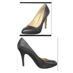 "Nine West leather  black pumps. Sorry, NO TRADES. Leather, handmade sole, heel approx 4"", platform approx 1/2"", color black. Very comfortable. Minimal scratches/scuffs. Non-slip pads added to bottom of shoe. Original shoe box. Nine West Shoes Heels"