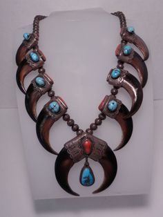 "NAVAJO DEL ADAMS ""FAUX"" BEAR CLAW CORAL TURQUOISE SILVER SQUASH BLOSSOM NECKLACE"