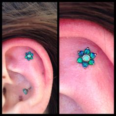 Sam Wassman stopped in today and got this beautiful opal flower from Industrial Strength put in her outer conch