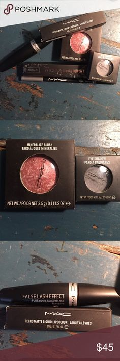 New in package 5 piece Mac makeup set 1 Kat Von D Brand-new never used in boxes Mac make up five piece set with one additional lipstick from Kat Von D. Includes black fall/affect mascara, retro liquid lip color in fashion legacy, mineralize blush in love thing, eyeshadow in night and eyeliner in black. in addition there is an everlasting liquid lipstick by Kat Von D in Lollita ll. Over $100 and make up! MAC Cosmetics Makeup Blush