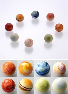 PLANETARY #CHOCOLATES: The solar system has never looked and sounded so scrumptious: Chocolate Solar System for the Rihga Royal Hotel. Flavors: Mercury (coconut mango), Venus (cream lemon), Earth (cacao), Mars (orange praline), Jupiter (vanilla), Saturn (rum raisin), Uranus (milk tea) and Neptune (capuccino) – sorry, pluto is no longer considered a planet.