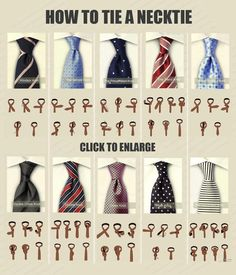 Different neck tie knots and How to knot them
