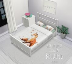 Watercolour Animal Bedding by SaurusSims at Mod The Sims • Sims 4 Updates