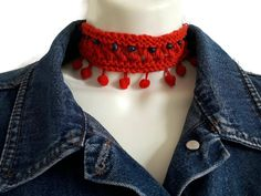 Items similar to Red Choker Pompom Necklace Festival Unisex Jewellery Accessories Clothing Knitted Crocheted on Etsy Red Necklace, Pompom Necklace, Crochet Necklace, Fox Hat, Festival Accessories, Blue Beads, Hand Knitting, Knit Crochet, Chokers