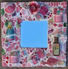 """Pink Vintage Shards and florals mirror, 12"""" square"""