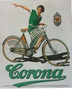 Original Corona bicycle advertising poster around 1930 / Contemporary bicycle poster Velo Vintage, Vintage Cycles, Vintage Bikes, Vintage Ads, Vintage Advertising Posters, Vintage Advertisements, Vintage Posters, Old Bicycle, Bicycle Women