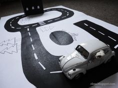 PRINTABLE road for little cars Cesta / Road... made some with paper and black marker for activity bag...went over well!